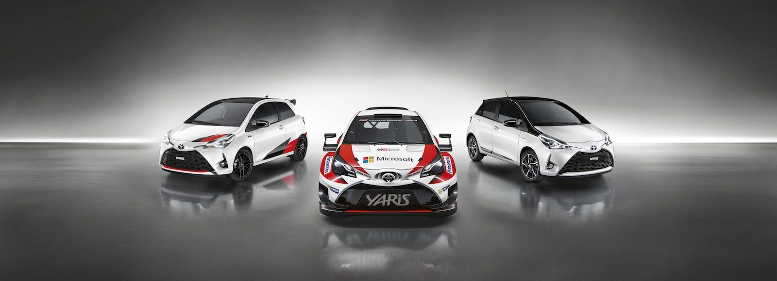 three toyota yaris