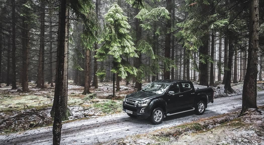Černý pickup Isuzu D-Max v lese